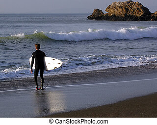 Surfing - Captured at a beautiful Rockaway beach in Pacifica...