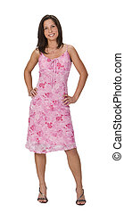 Woman in a pink dress - Image of a beautiful young brunette...