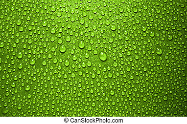 green waterdrops from above