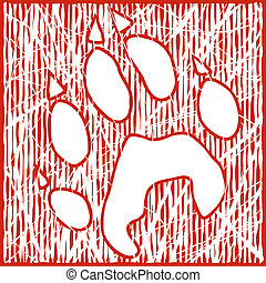 Wolf print - Illustration of a wolf paw print