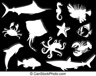 Sea-life silhouette - Sea-life black silhouette for this...