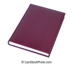 Book - Brown leather covered book isolated over white...