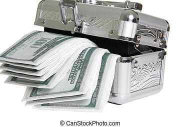 Case is too small - Metallic casket with fake money isolated...