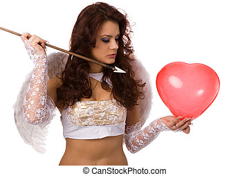 arrow and heart - sexy woman dressed as angel with arrow and...