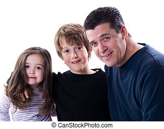 Parenthood - father wih his son and daughter on white