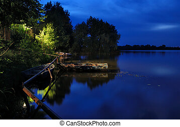 Blue river landscape - Green and blue night river landscape...