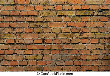 Industrial Brick Wall - Fragment of old brick wall with gray...