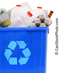 Bin of recyclables - a blue recycling bin full of recyclable...
