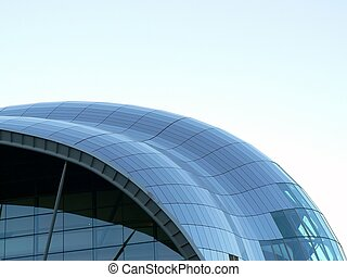 Glass roof building on  Newcastle quayside