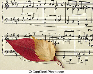 autumnal melody - old sheet of musical symbols with colorful...