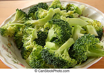 Broccoli pieces - Fresh raw sliced broccoli pieces closeup...