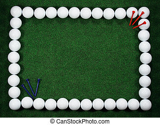 Golf frame with balls and pegs - Golf frame with message...