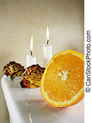 Orange - Fresh orange with roses and candlelights for some...