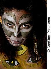 Mask - Stylized amerindian militant drawing on feminine...