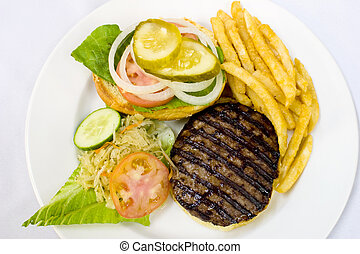 Hamburger with Fries and Coleslaw - Open burger served with...