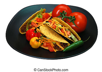 Tacos on plate with tomatoes, habanero and serrano peppers....