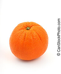 orange fruit - close up of a fresh orange fruit on white...