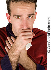 Young Man Coughing - Young man coughing into his hand...