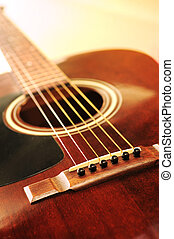Guitar - Musical instrument acoustic guitar close up in...