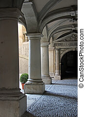 Stone pillars - Elegant stone pillars in a walkway in the...