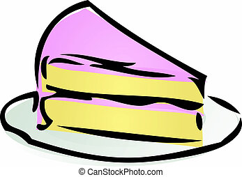 Slice of cake - Illustration of a cake with pink icing...