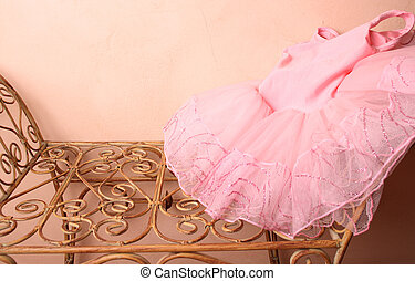 Ballet Costume - Pink Ballet Tutu on a wraught iron bench