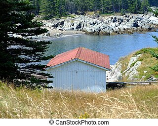 Seascape an boat house - Seascape and boat house from...