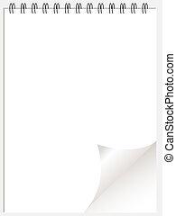 White ring binder notepad wtih page curl