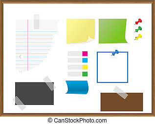 Stationery, paper, notes, documents vector - Various pieces...