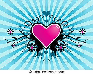 Valentines day vector image with ink splats and vines Funky...