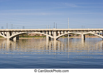 Ash Ave Bridge - Highway Bridge over Salt River Tempe Lake,...