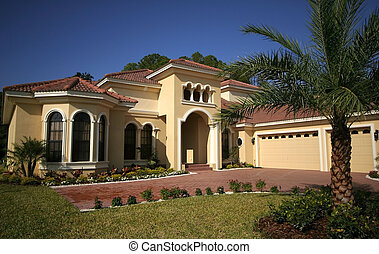 Florida house - Wide angle shot of luxurious Florida house