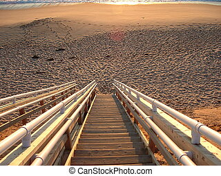 stairway to heaven - stairs down to the beach at sunset