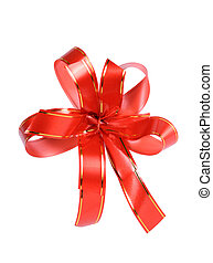 Red gift ribbon with bow isolated on white background