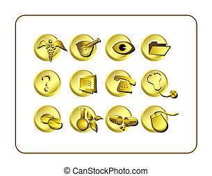 Medical and Pharmacy Icon Set, Golden - Medical Pharmacy...