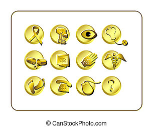 Medical & Pharmacy Icon Set - Golden