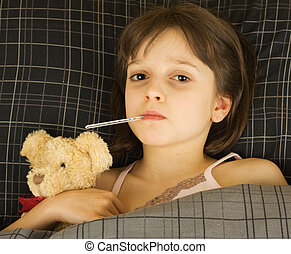 Young sick girl - A girl sick in bed with stuffed bear for...