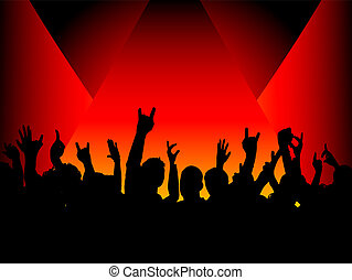 audience in spotlight - Silhouette of a crowd under...