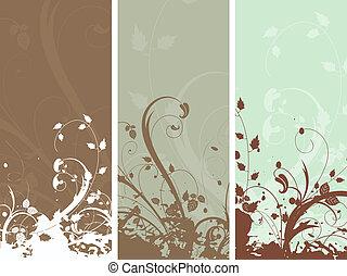 floral grunge panels - Decorative floral grunge panels