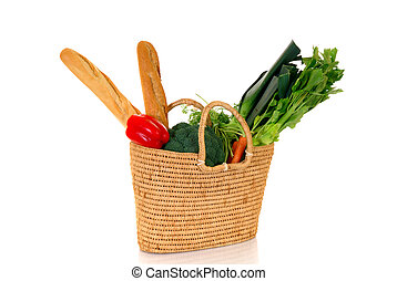 Shopping bag with vegetables - Reed shopping bag with fresh...