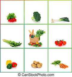 compras, bolsa, vegetales