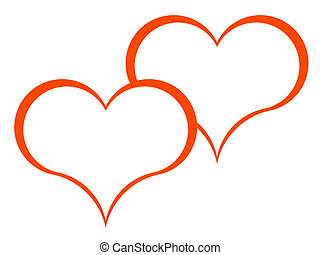 hearts - Symbols of two red hearts on a white background