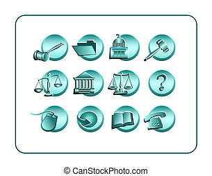 Legal Icon Set - Teal