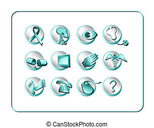 Medical & Pharmacy Icon Set - Teal - Silver