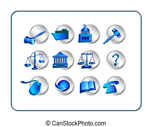 Legal Icon Set - Silver-Blue