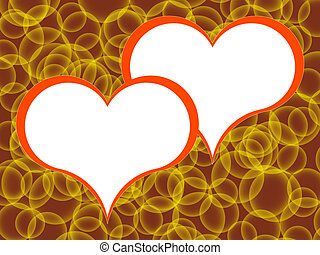 hearts - Symbols of two red hearts on a background of...