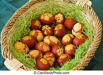 Easter basket with traditionally dyed eggs