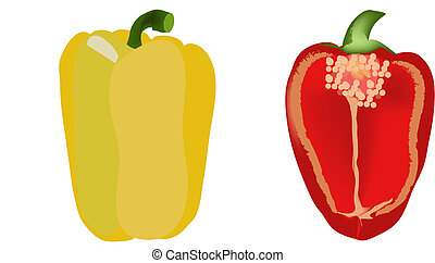 paprika - a pair of Yellow and red paprika\\\'s