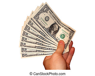 Hand with money - hand holding a greater pack with dollars