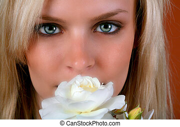 Beautiful Blond Holding White Roses